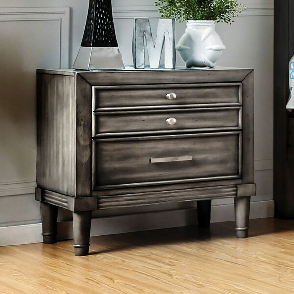 Nydia 3 Drawer Nightstand by Union Rustic