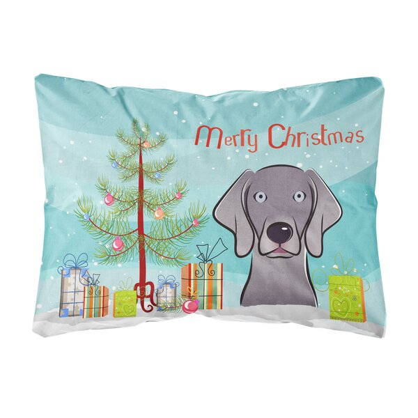Patson Christmas Tree and Weimaraner Fabric Indoor/Outdoor Throw Pillow by The Holiday Aisle