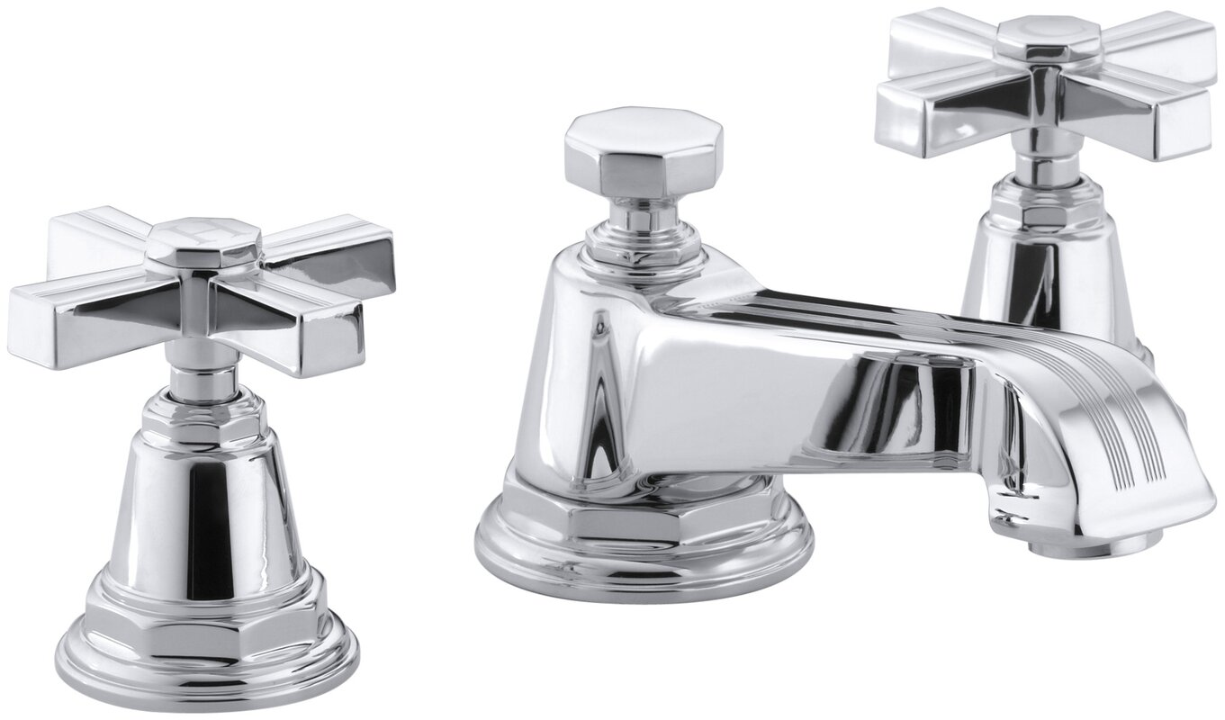 Pinstripe Widespread Bathroom Sink Faucet with Cross Handles