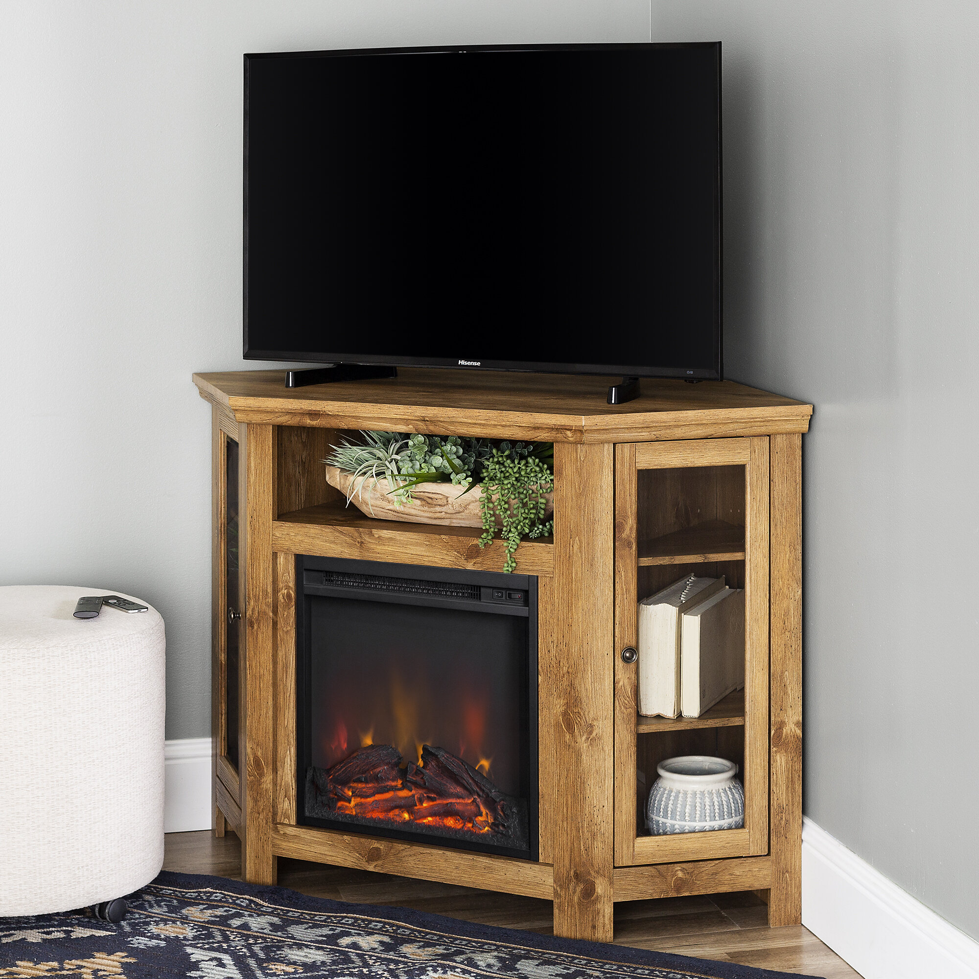 Tieton Corner Tv Stand For Tvs Up To 55 With Electric Fireplace Included