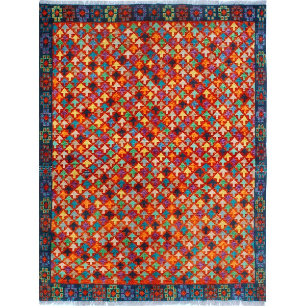 One-of-a-Kind Millender Zahara Hand-Knotted Wool Red Area Rug by Bloomsbury Market