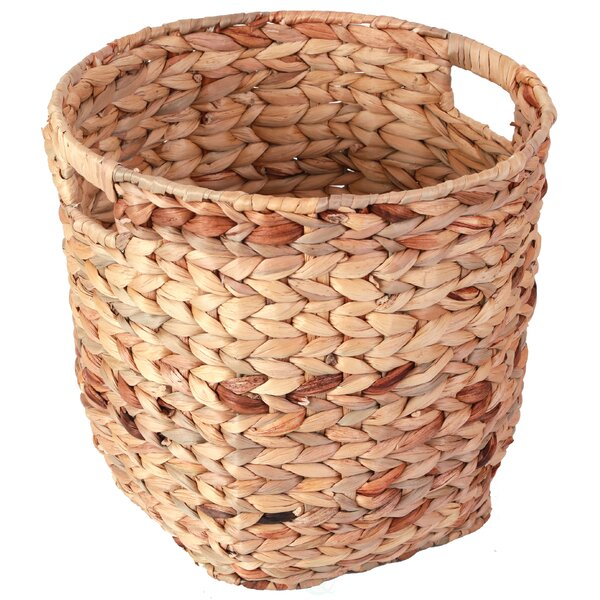 Wicker Hyacinth Open Cutout Handles Waste Basket by Vintiquewise