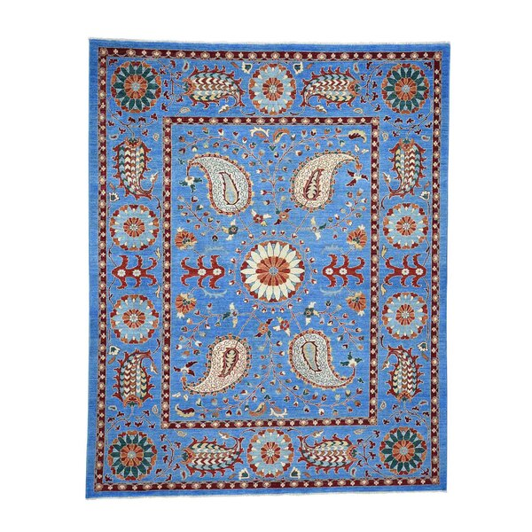 One-of-a-Kind Freels Peshawar with Suzani Oriental Hand-Knotted Blue Area Rug by World Menagerie