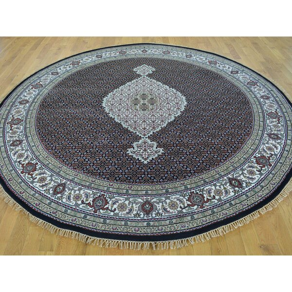 One-of-a-Kind Benat Mahi Hand-Knotted Black Wool/Silk Area Rug by Isabelline