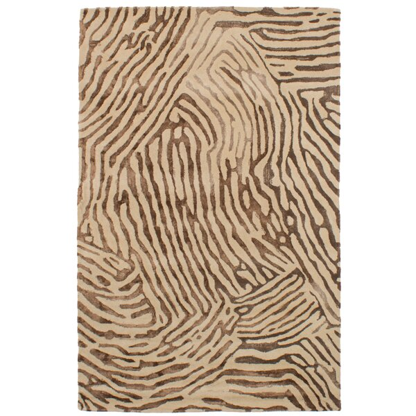 Normand Hand-Tufted Dark Brown/Ivory Area Rug by Bloomsbury Market