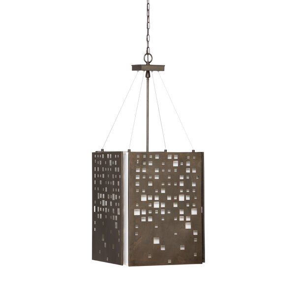 4 - Light Shaded Drum Chandelier By Wildwood