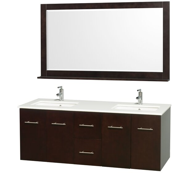 Centra 60 Double Espresso Bathroom Vanity Set with Mirror by Wyndham Collection
