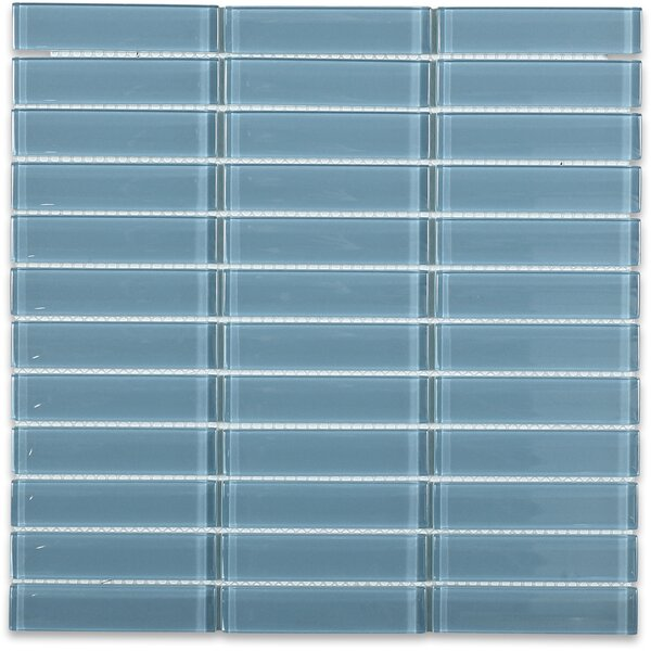 Contempo 1 x 4 Glass Mosaic Tile in Blue by Splashback Tile