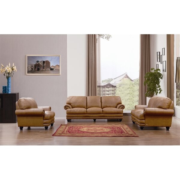 Oswestry 3 Piece Leather Living Room Set By Canora Grey