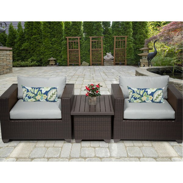 Belle 3 Piece Rattan Conversation Set with Cushions by TK Classics