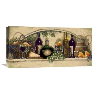 Wine, Fruit 'N Cheese Niche' by Janet Kruskamp Painting on Wrapped Canvas by Global Gallery