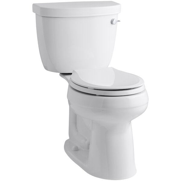 Cimarron Comfort Height Two-Piece Round-Front 1.28 GPF Toilet with Aquapiston Flush Technology, Right-Hand Trip Lever and Insuliner Tank Liner by Kohler