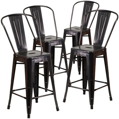 Gold Full Back Bar Stools You Ll Love Wayfair Ca