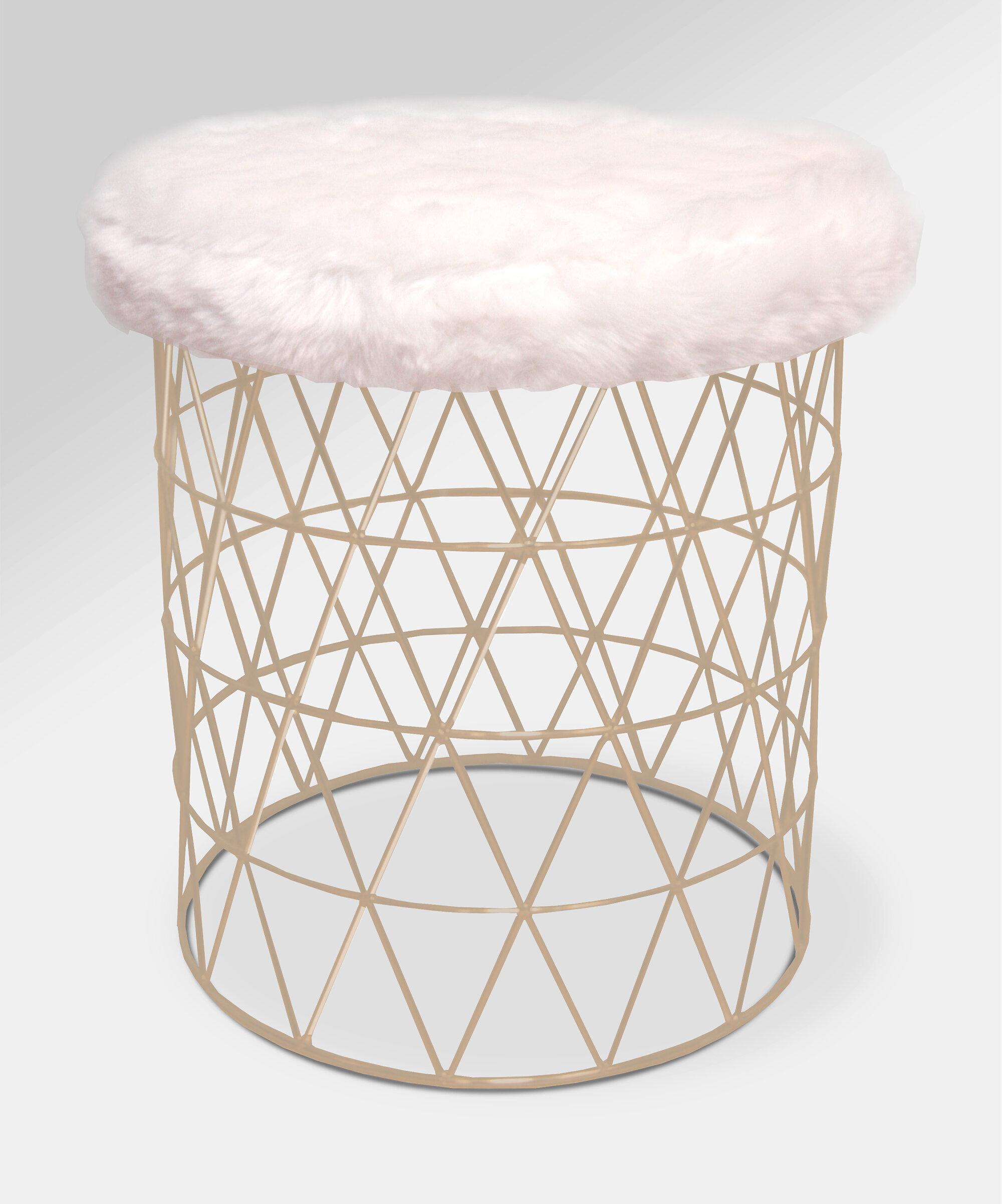 Stupendous Mccarty Modern Furry Round Vanity Stool Machost Co Dining Chair Design Ideas Machostcouk