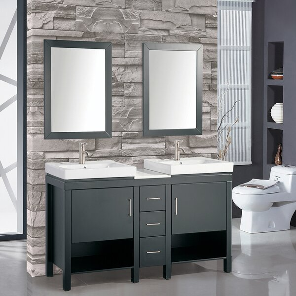 Chauncy 60 Wood Base Double Sink Bathroom Vanity Set with Mirror by Wade Logan