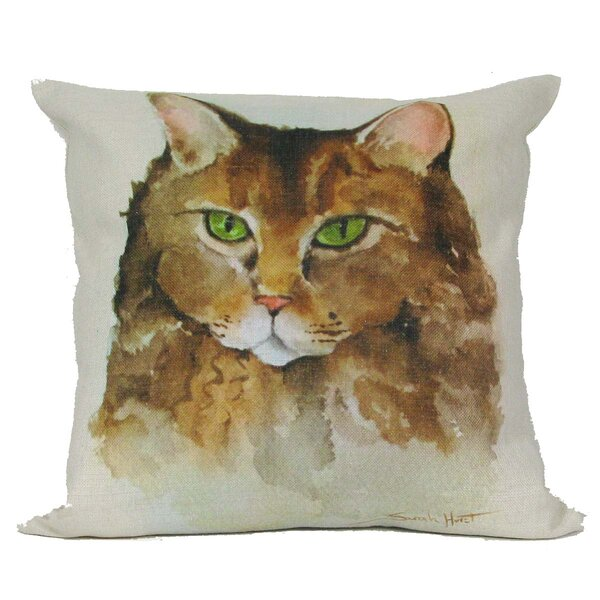Cat with Green Eyes Pillow Cover by Golden Hill Studio