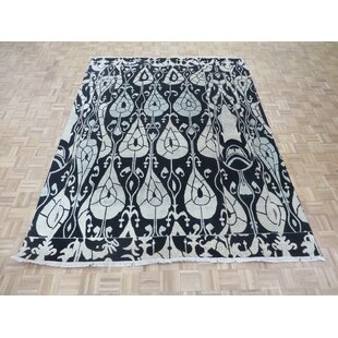 Order One-of-a-Kind Dysart Fine Ikat Hand-Knotted 8' x 10'3 Wool/Silk Black/Beige Area Rug By Isabelline