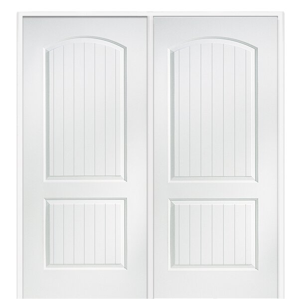 Cashal Arch Top Planked Primed Single MDF Panelled Prehung Interior Door by Verona Home Design