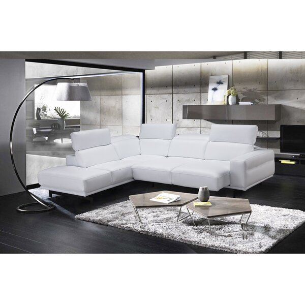 Paulk Leather Sleeper Sectional by Orren Ellis
