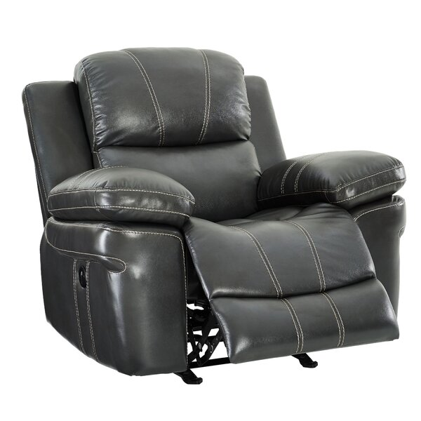 Leatherette Upholstered Power Motion Glider Recliner, Gray W000966609