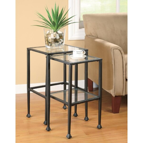 Laskowski Glass Top Nesting Tables with Storage by 17 Stories 17 Stories