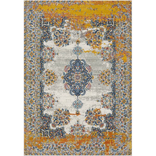 Leonardo Distressed Traditional Blue/Yellow Area Rug by Bungalow Rose