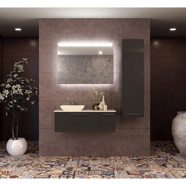 Isabella 48 Wall-Mounted Single Bathroom Vanity Set with Mirror by Orren Ellis