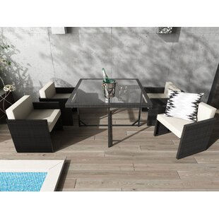 Dunlap 5 Piece Outdoor Dining Set with Cushion By Wade Logan