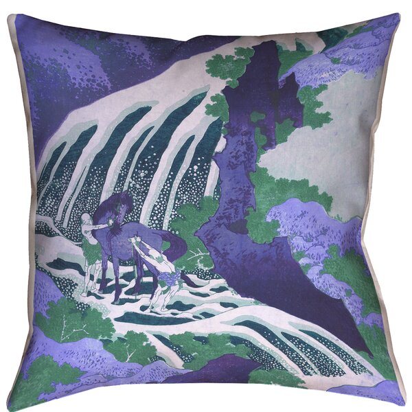 Horse and Waterfall Indoor/Outdoor Throw Pillow