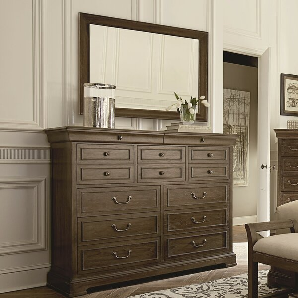 Pond Brook 13 Drawer Double Dresser with Mirror by Darby Home Co