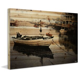'Still Dock' by Parvez Taj Painting Print on Natural Pine Wood by Trent Austin Design