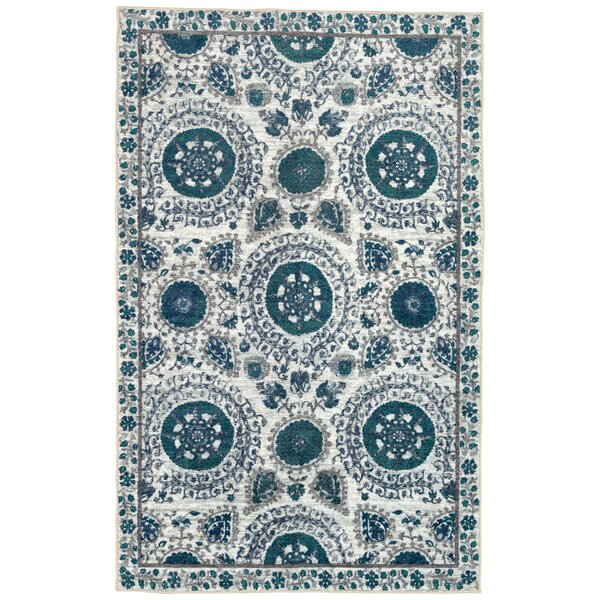 Lagouira Suzani Aqua/Cream Area Rug by Bungalow Rose