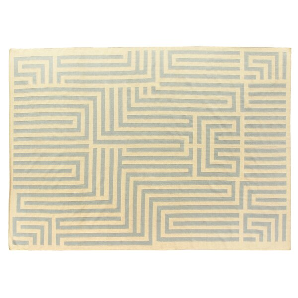 Hand-Woven Wool Light Blue/Ivory Area Rug by Exquisite Rugs