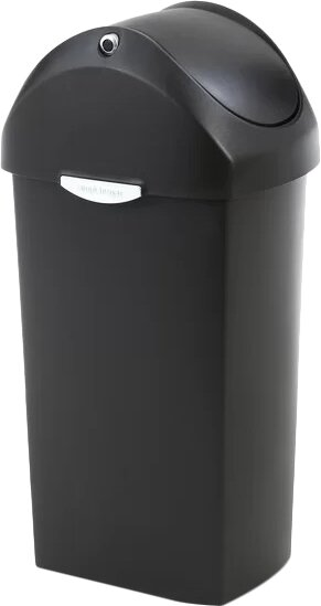 16 Gallon Swing Lid Trash Can, Plastic by simplehuman