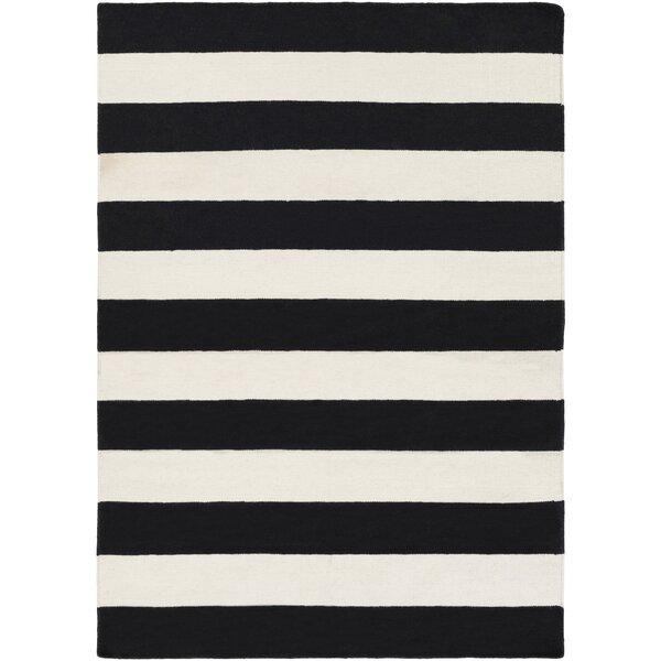 Stonebridge Hand-Woven Wool Black/White Area Rug by Breakwater Bay