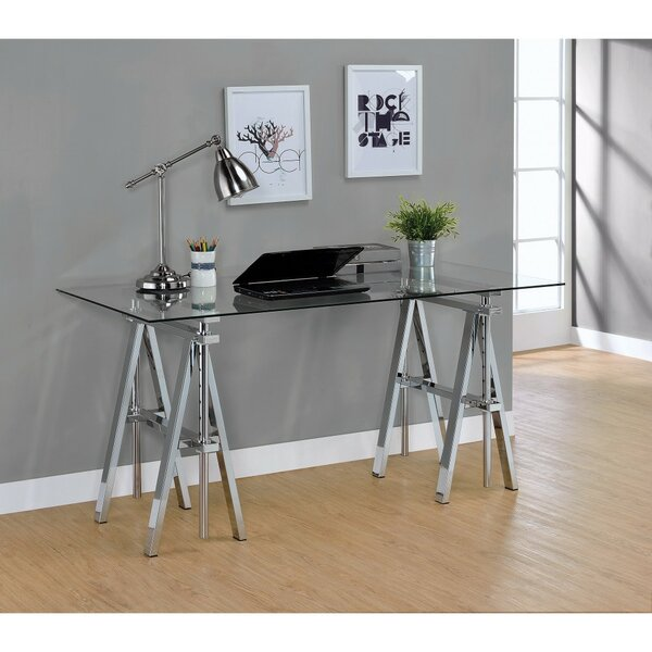 Gilley Adjustable Desk with Sawhorse Legs by Wrought Studio