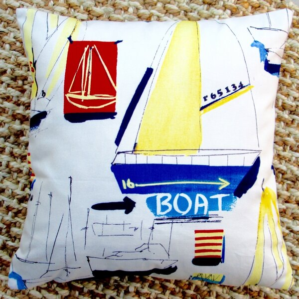 Sail Boat Beach Nautical Marine Coastal Cotton Throw Pillow by Artisan Pillows