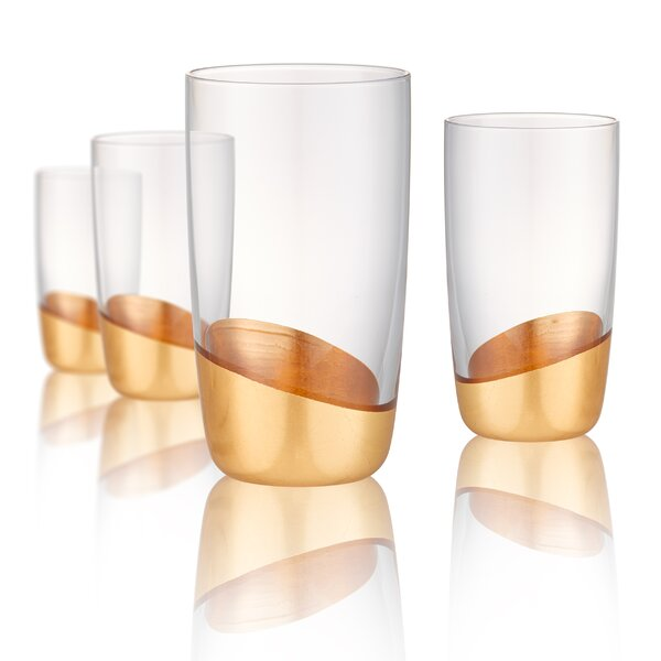 Elgin 18 oz. Glass Highball Glasses (Set of 4) by Greyleigh