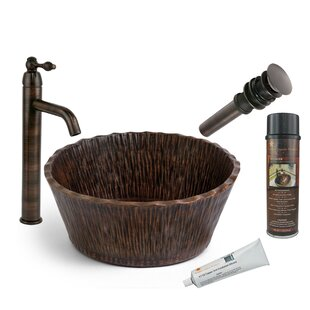 Forest Metal Circular Vessel Bathroom Sink with Faucet By Premier Copper Products