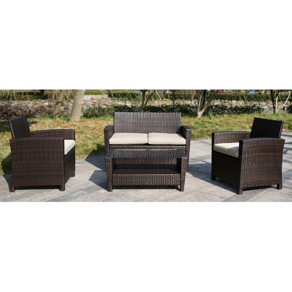 Arlington 4 Piece Rattan Sofa Seating Group with Cushions by JJ Designs