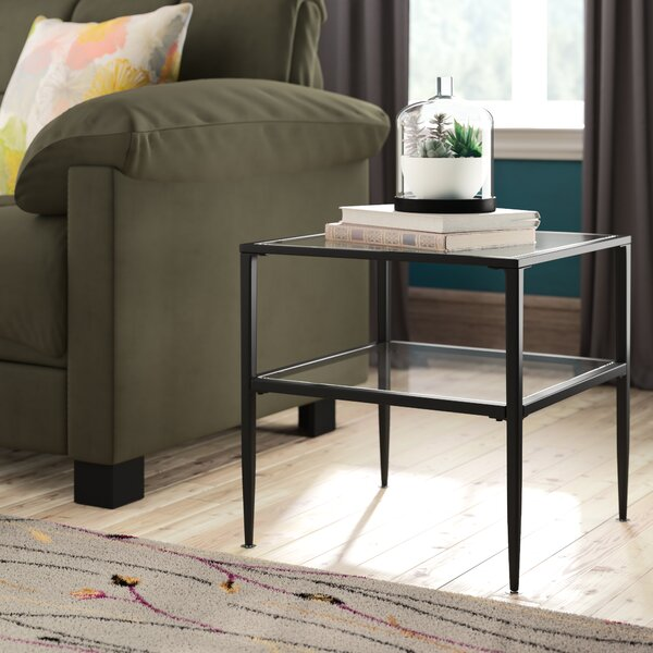 Albie Glass Top End Table With Storage By Andover Mills