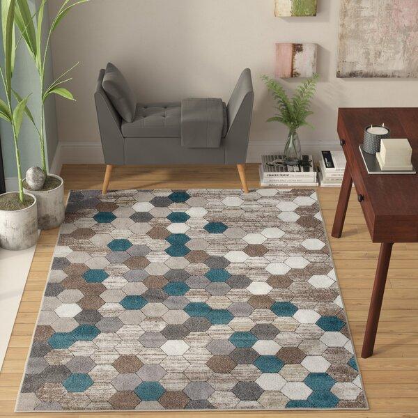 Catalan Beige/Blue Indoor/Outdoor Area Rug By Wrought Studio