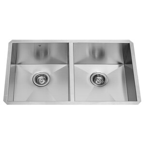 VIGO Alma 32 inch Undermount 50/50 Double Bowl 16 Gauge Stainless Steel Kitchen Sink