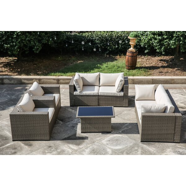 Valentin 7 Piece Sectional Set Rattan With Cushions By One Allium Way