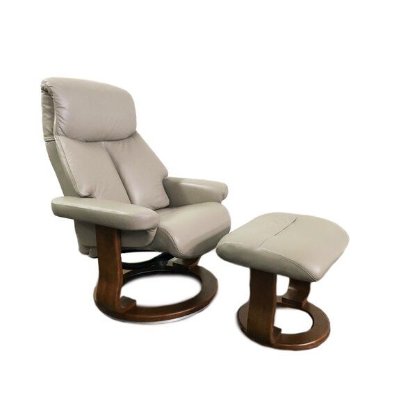 Leone Leather Manual Swivel Recliner With Ottoman By World Source Design