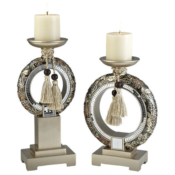 Chrysanthemum 2 Piece Candlestick Set by Astoria G