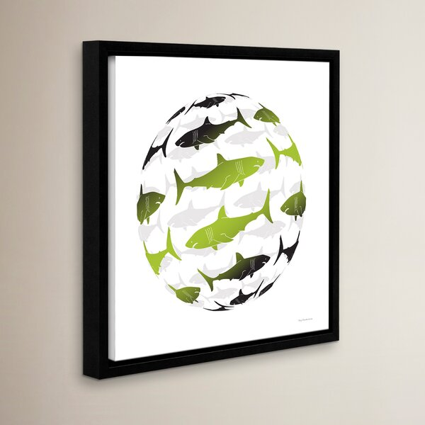 Avera Contemporary Shark Globe Framed Art by Harriet Bee