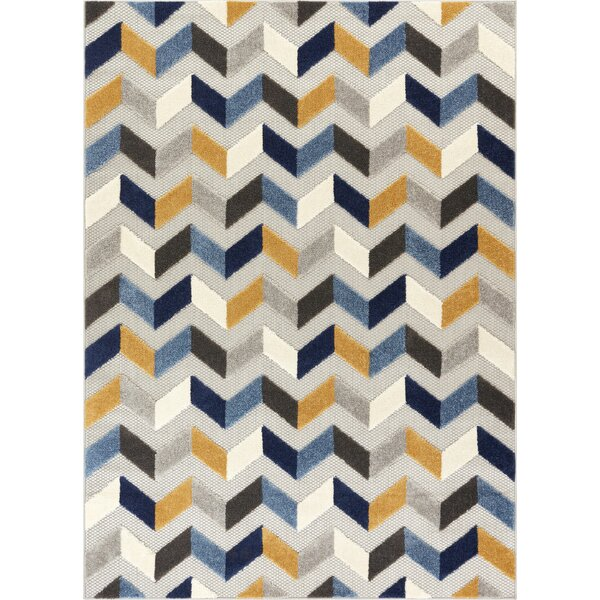 Dorado Bela Modern Geometric/Chevron High-Low Blue Indoor/Outdoor High-Low Area Rug by Well Woven