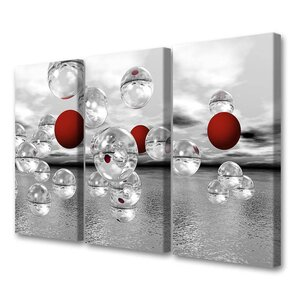 'Crimson Spheres Triptpych' by Scott J. Menaul 3 Piece Graphic Art on Wrapped Canvas Set by Menaul Fine Art