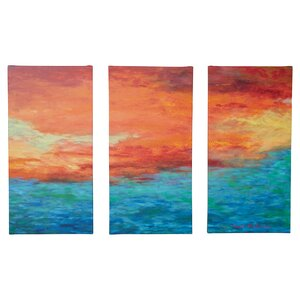 'Lake Reflections II' 3 Piece Framed Painting Print on Wrapped Canvas Set by Latitude Run